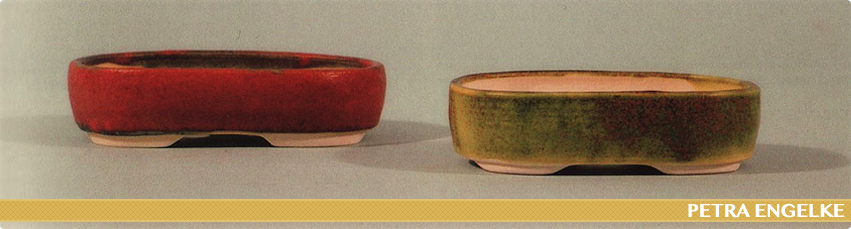 red and green oval bonsai pots by petra engelke tomlinson